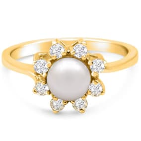 Round Freshwater Cultured Pearl and 1/3 Carat Halo Diamond Ring In 14 Karat Yellow Gold