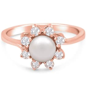 Round Freshwater Cultured Pearl and 1/3 Carat Halo Diamond Ring In 14 Karat Rose Gold