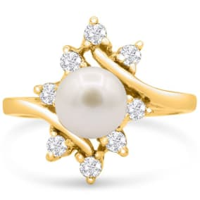 Round Freshwater Cultured Pearl and Halo Diamond Ring In 14 Karat Yellow Gold