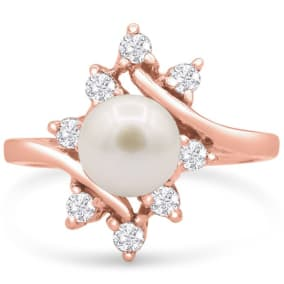 Round Freshwater Cultured Pearl and Halo Diamond Ring In 14 Karat Rose Gold