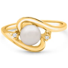 Round Freshwater Cultured Pearl and Diamond Accent Ring In 14 Karat Yellow Gold