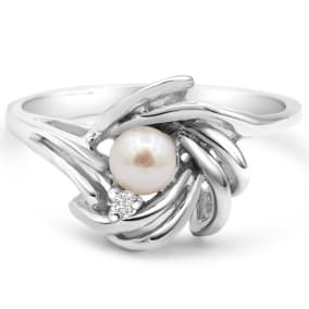 Round Freshwater Cultured Pearl and Diamond Accent Ring In 14 Karat White Gold