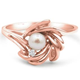 Round Freshwater Cultured Pearl and Diamond Accent Ring In 14 Karat Rose Gold