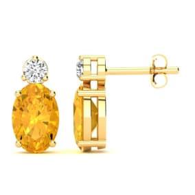 1 Carat Oval Citrine and Diamond Stud Earrings In 14 Karat Yellow Gold