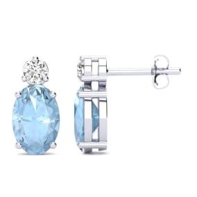 1 Carat Oval Aquamarine and Diamond Stud Earrings In 14 Karat White Gold