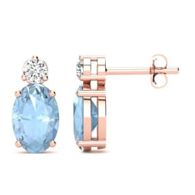 1 Carat Oval Aquamarine and Diamond Stud Earrings In 14 Karat Rose Gold