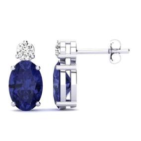 1 Carat Oval Tanzanite and Diamond Stud Earrings In 14 Karat White Gold