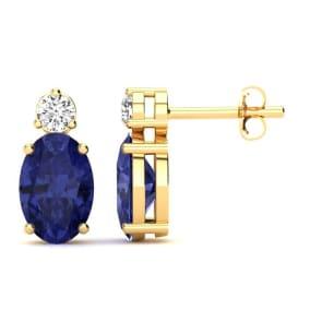 1 Carat Oval Tanzanite and Diamond Stud Earrings In 14 Karat Yellow Gold