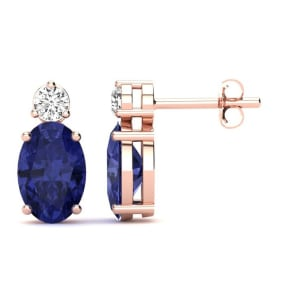 1 Carat Oval Tanzanite and Diamond Stud Earrings In 14 Karat Rose Gold