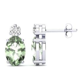 1 Carat Oval Green Amethyst and Diamond Stud Earrings In 14 Karat White Gold