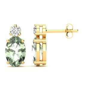1 Carat Oval Green Amethyst and Diamond Stud Earrings In 14 Karat Yellow Gold