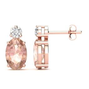 1 Carat Oval Morganite and Diamond Stud Earrings In 14 Karat Rose Gold