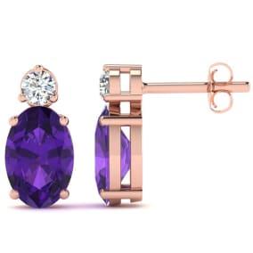 1 1/2 Carat Oval Amethyst and Diamond Stud Earrings In 14 Karat Rose Gold