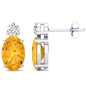 1 2/3 Carat Oval Citrine and Diamond Stud Earrings In 14 Karat White Gold