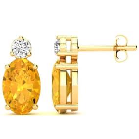 1 2/3 Carat Oval Citrine and Diamond Stud Earrings In 14 Karat Yellow Gold