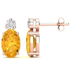 1 2/3 Carat Oval Citrine and Diamond Stud Earrings In 14 Karat Rose Gold