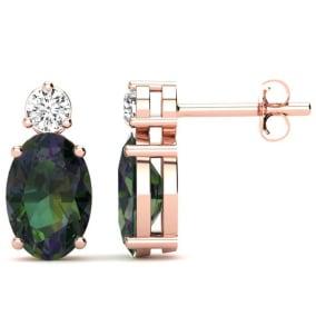 1 1/2 Carat Oval Mystic Topaz and Diamond Stud Earrings In 14 Karat Rose Gold
