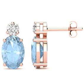 1 2/3 Carat Oval Aquamarine and Diamond Stud Earrings In 14 Karat Rose Gold