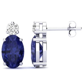 2 Carat Oval Tanzanite and Diamond Stud Earrings In 14 Karat White Gold