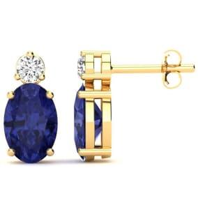 2 Carat Oval Tanzanite and Diamond Stud Earrings In 14 Karat Yellow Gold