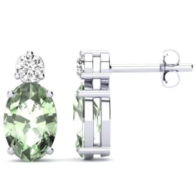 1 1/2 Carat Oval Green Amethyst and Diamond Stud Earrings In 14 Karat White Gold