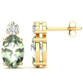 1 1/2 Carat Oval Green Amethyst and Diamond Stud Earrings In 14 Karat Yellow Gold