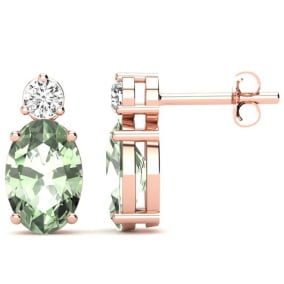 1 1/2 Carat Oval Green Amethyst and Diamond Stud Earrings In 14 Karat Rose Gold