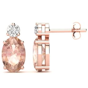 1 2/3 Carat Oval Morganite and Diamond Stud Earrings In 14 Karat Rose Gold