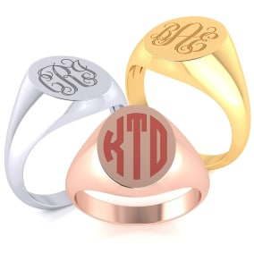 14K Gold Mens Oval Signet Ring With Free Custom Engraving