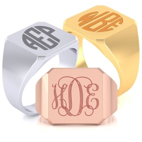 14K Gold Mens Octagon Signet Ring With Free Custom Engraving