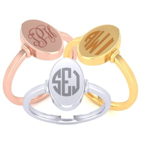 14K Gold Ladies Oval Signet Ring With Free Custom Engraving
