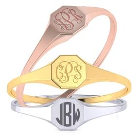 14K Gold Ladies Octagon Signet Ring With Free Custom Engraving