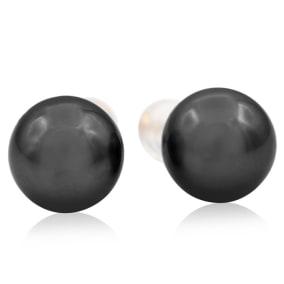 9.5-10MM AAA Cultured Black Tahitian Pearl Stud Earrings In 14 Karat Yellow Gold