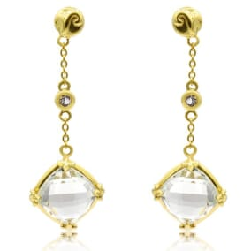 2 1/2 Carat Green Amethyst and White Topaz Drop Earrings In 14 Karat Yellow Gold Over Sterling Silver