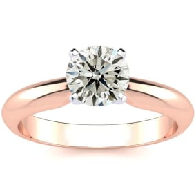 1 Carat Diamond Solitaire Engagement Ring In 14K Rose Gold. Incredible Deal On A 1 Carat Diamond!