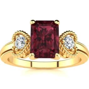 1 1/2 Carat Garnet and Two Diamond Heart Ring In 10 Karat Yellow Gold