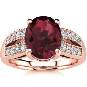 2 Carat Oval Shape Garnet and Diamond Ring In 14 Karat Rose Gold