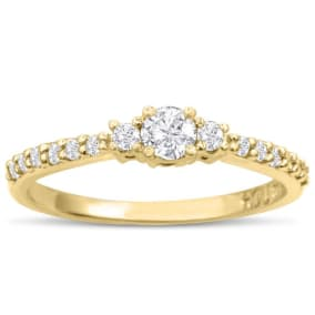 Three Diamond Plus Promise Ring In Yellow Gold