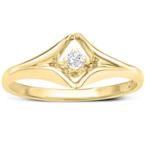 Diamond Solitaire Promise Ring In Yellow Gold