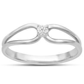 Split Shank Diamond Solitaire Promise Ring In White Gold