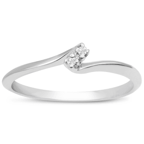 0.02ct Two Diamond Promise Ring In 10 Karat White Gold