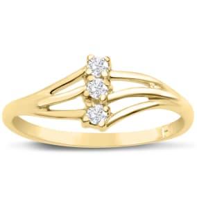 Three Diamond Spray Promise Ring In Yellow Gold