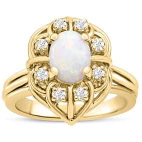 1 Carat Vintage Opal and Halo Diamond Ring In 14 Karat Yellow Gold