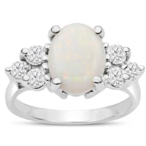 3 Carat Opal and Diamond Ring In 14 Karat White Gold