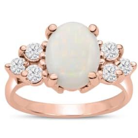 3 Carat Opal and Diamond Ring In 14 Karat Rose Gold