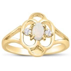 Vintage 1/4 Carat Opal and Diamond Ring In 14 Karat Yellow Gold