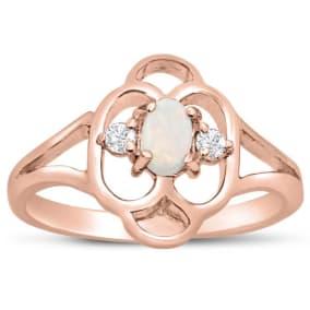 Vintage 1/4 Carat Opal and Diamond Ring In 14 Karat Rose Gold