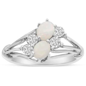 3/4 Carat Double Opal and Diamond Ring In 14 Karat White Gold