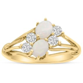 3/4 Carat Double Opal and Diamond Ring In 14 Karat Yellow Gold