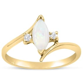 1/2 Carat Marquise Shape Opal and Two Diamond Ring In 14 Karat Yellow Gold